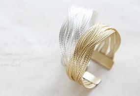 Gold & Silver Plated Braided Cuff Bracelet -Trendiest Gift for Loved Ones (BOGO)