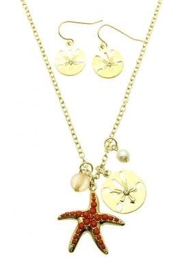 Starfish Charm Earring and Necklace Set
