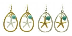 Starfish Teardrop Earrings in Silver and Gold