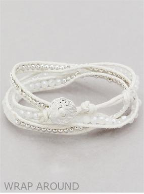 White and Silver Wrap Bracelet FREE SHIPPING