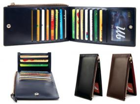 Leather Wallet with Credit Card Organizer