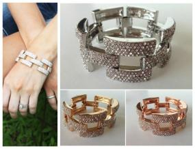 CLOSEOUT.....Pave Link Bracelet in Gold and Silver.....FREE SHIPPING