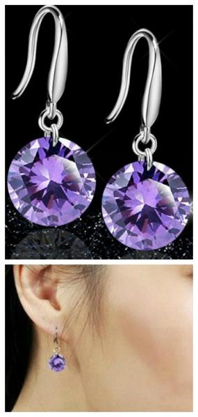 Classic Sterling Silver Amethyst Drop Earrings.....Free Shipping
