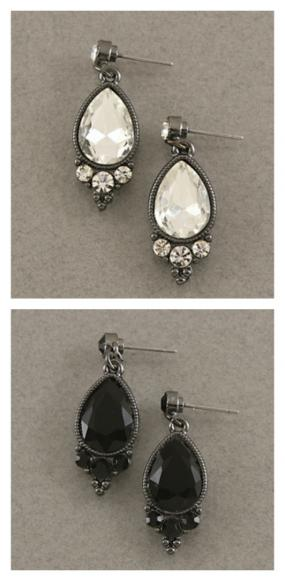Diamond and Onyx Color Stunning Drop Earrings.....FREE SHIPPING