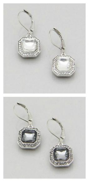 SQUARE CRYSTAL LEVERBACK FRENCH EARRINGS....FREE SHIPPING