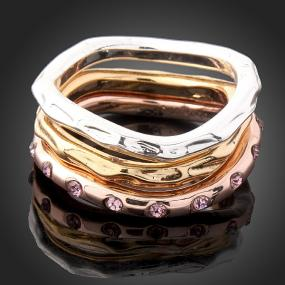 Hammered Tricolor Stacking Rings