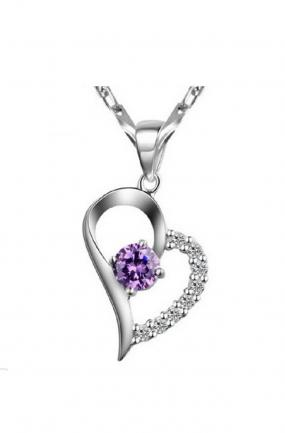 Amethyst  Heart Necklace.....FREE SHIPPING