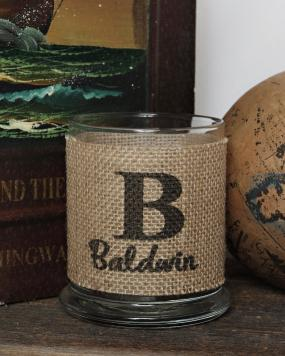 Personalized Burlap Candle Holder