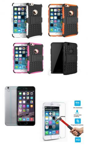 "BUNDLE - iPhone 6 4.7"" Dual Layer Impact Protection Case & Tempered Glass Screen Protector"
