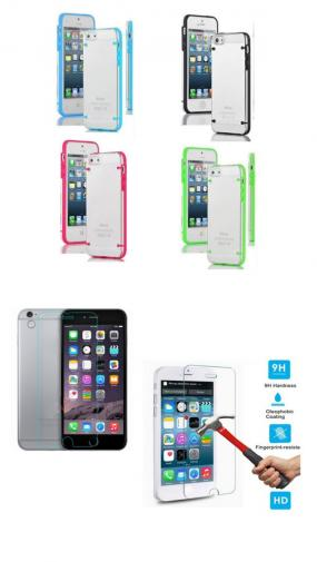 "BUNDLE - iPhone 6 4.7"" Ultra Thin Transparent Case Cover & Tempered Glass Screen Protector"