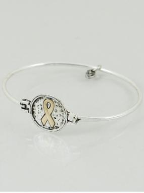Silver and Gold Childhood Cancer Awareness Ribbon Bracelet & Alex's Lemonade Stand Donation