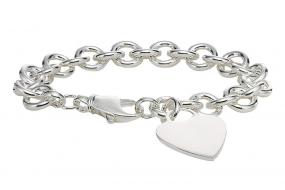 Silver Heart Tag Charm Bracelet