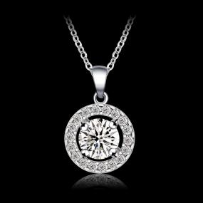 Swarovski Pave Halo White Gold Solitaire Necklace.....FREE SHIPPING
