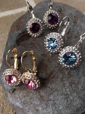 Classic Halo Gemstone Earrings in 3 Stone Colors....FREE SHIPPING