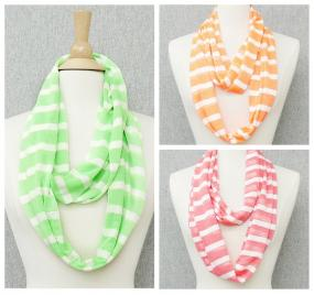 Fun Striped Scarves in 3 Spring Colors.....FREE SHIPPING