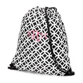 Personalized Black Geometric Drawstring Bag for Everyday Use