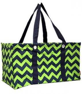 Navy and Lime Chevron Utility Tote