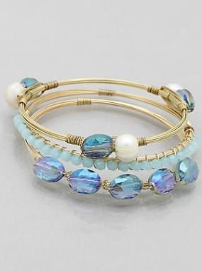 Gold & Blue Glass, Pearl Beaded Stacked Bracelet Set .....FREE SHIPPING