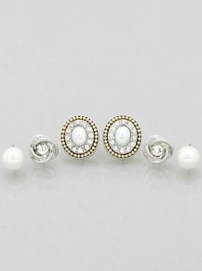 Set of 3 Pearl Stud Earrings....FREE SHIPPING