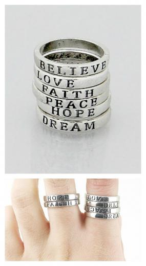Inspirational Message Rings Set of 6 - Size 7