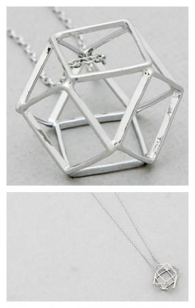 Long Open Geometric Silver Necklace