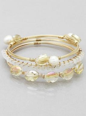 Gold and Clear Glass, Pearl Beaded Stacked Bracelet Set
