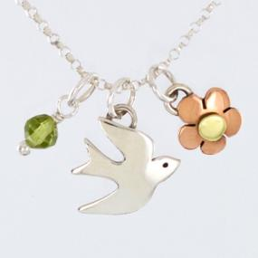 Sterling Silver Dove Charm Necklace