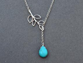 Turquoise Branch Drop Necklace