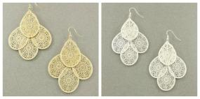 CLOSEOUT.....Filigree Drop Earrings in Silver or Gold   FREE SHIPPING