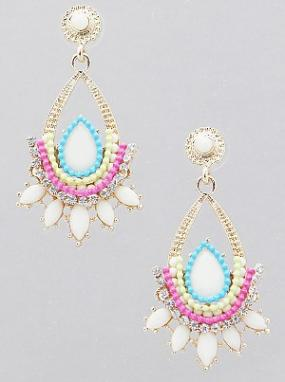 Teardrop Bead mixed with Crystal Statement Earrings  FREE SHIPPING