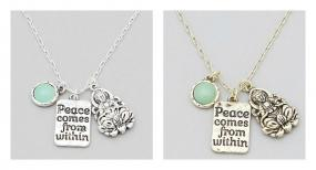 Buddha Peace Comes From Within Charm Necklace FREE SHIPPING