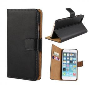 100% Real Leather Wallet Flip Case and Stand For Apple iPhone 5 & 5S in Pink, Black, or Brown