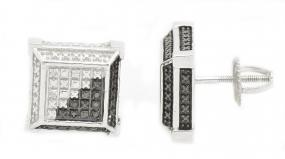 0.05 Ct Round White & Black Diamond Prong Set Stud Earrings in Sterling Silver