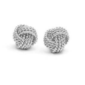 Elegant Silver Twist Knot Earrings.....FREE SHIPPING