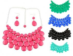 SPRING Teardrop Cluster Statement Necklace and Earrings.....FREE SHIPPING
