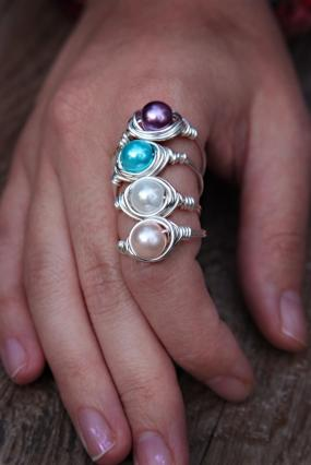 Wire Wrapped Pearl Rings in 8 Color Choices
