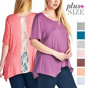 Plus Size Lace Panel Tunic Top - Assorted Colors