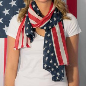 Patriotic, Red, White and Blue American Flag Scarf- FREE SHIPPING
