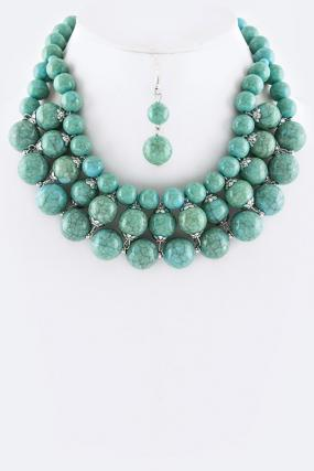 Turquoise Beaded Statement Necklace Set