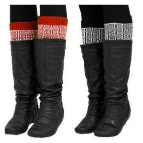 CLOSEOUT.......Red and Brown Greek Key Leg/Boot Warmers - FREE SHIPPING