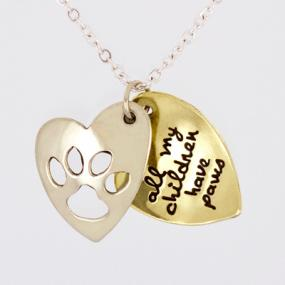 All My Children Have Paws Pendant Necklace....FREE SHIPPING
