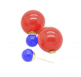 Red & Blue Ball Back Earring with Peekaboo Backs in Gold Plating