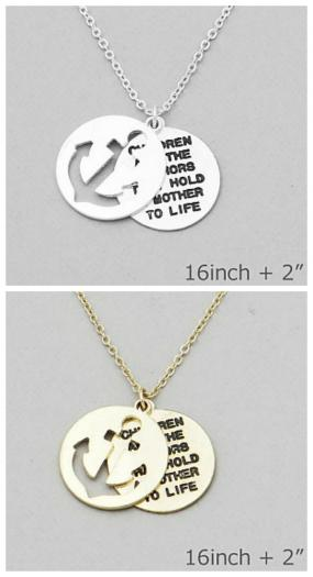 Anchor Message Pendant Necklace FREE SHIPPING