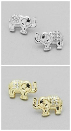Pave Elephant Stud Earrings FREE SHIPPING