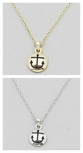 Engraved Anchor Pendent Necklace FREE SHIPPING