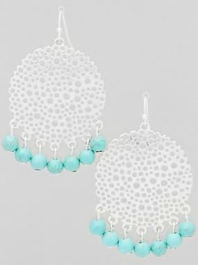 Pierced Beaded Dangle Turquoise Earrings  FREE SHIPPING