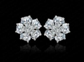 Dazzling Crystal Flower Studs ....FREE SHIPPING