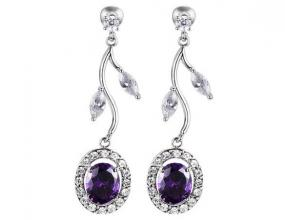 Deep Amethyst Flower Drop Earrings.....Free Shipping