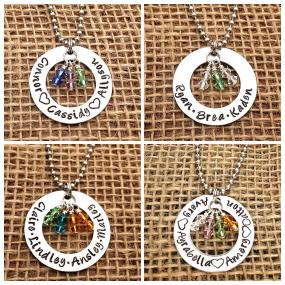 Mother's Day Hand Stamped Washer Necklace Swarovski Crystal Birthstone Charms