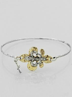 Fleur De Lis Bangle Bracelet with Cross Charm